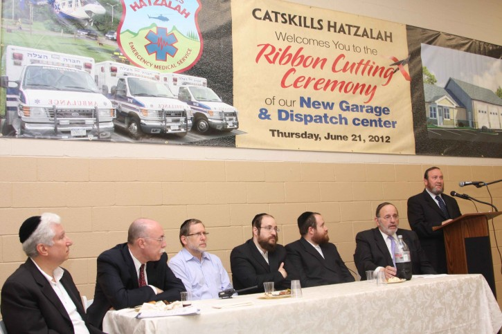 Baruch Gips, Catskill Hatzalah coordinator, Rabbi Dovid Cohen, CEO of Hatzalah,  Bentzi Lebowitz - Member of Hatzalah's Executive Board, Yomtov Malek – Catskill Hatzalah coordinator, Dr. Richard Friedman - medical director of Catskills Hatzalah, Honorable Jerome H. Hauer - Commissioner of NYS Department of Homeland Security, Isaac Stern – Vice President of Chevra Hatzala. photo credit: heshy rubinstein/dee voch