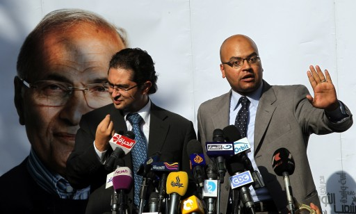 Ahmed Sarhan (R) Kareem Salem (L) spokesmen for Egyptian presidential candidate Ahmed Shafiq address a press conference in Cairo, Egypt, 19 June 2012. According to local sources, the campaign press office of candidate Shafiq claimed on 19 June his victory by about half a million votes. EPA/KHALED ELFIQI