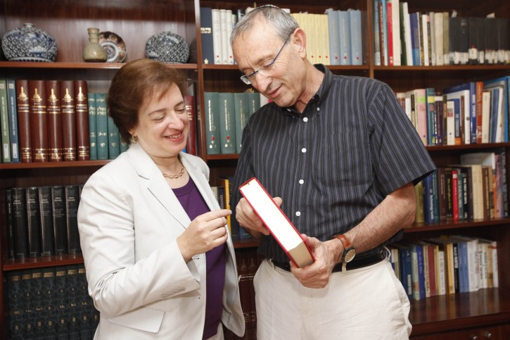 Menachem Ben Sasson, president of the Hebrew University of jerusalem, meets with US Supreme Court Associate Justice Elana Kagan, in Ben Sasson's office in Jerusalem on July 05, 2012