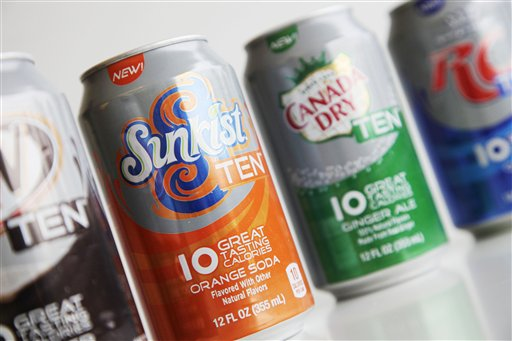 A Monday, June 11, 2012, photo shows cans of ten-calorie soda from Dr Pepper Snapple Group displayed in New York. Coke and Pepsi are chasing after the sweet spot: a soda with no calories, no artificial sweeteners and no funny aftertaste. The world's top soft drink companies hope that's the elusive trifecta that will silence health concerns about soda and reverse the decline in consumption of carbonated drinks. But coming up with such a formula could still be years away. (AP Photo/Mark Lennihan)