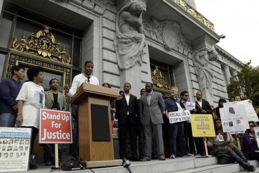 Activist Theo Ellington voices his opposition to a proposed stop-and-frisk policy outside of city hall, in San Francisco. (AP Photo/Marcio Jose Sanchez)<br />
