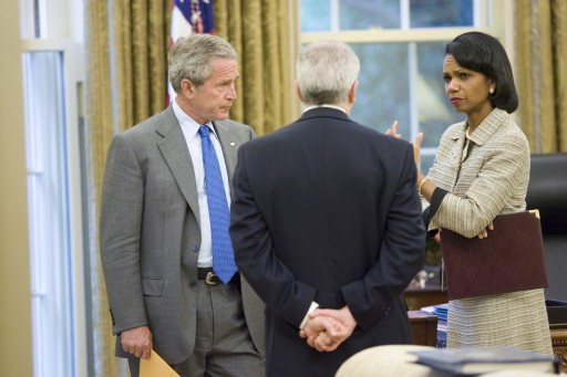 FILE - President George W. Bush talks with Secretary of State Condoleezza Rice and White House Chief of Staff Joshua Bolten in the Oval Office after receiving news of terrorist al Zarqawi's death in Iraq at 4:49 p.m. Wednesday, 07 June 2006.  EPA/ERIC DRAPER