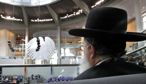 FILE - A rabbi follows the parliamentary debate on the circumcision of male children from the visitor's gallery at the Bundestag in Berlin, Germany, 19 July 2012.  EPA/WOLFGANG KUMM