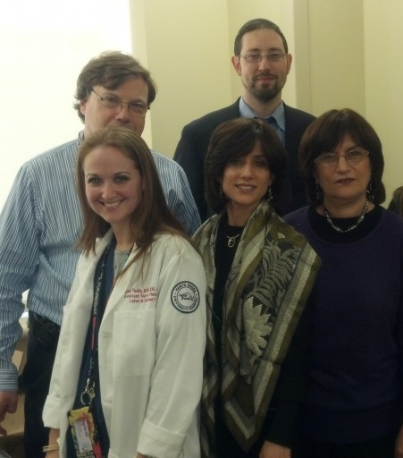 North Shore University Hospital Professionals Meet with Ezras Nashim members,: Top Row: Dr. Victor R. Klein, Director OB/GYN (L) and Rabbi Daniel Coleman, Hospital Chaplain (Right).  Bottom Row: Rachel Yudin, RN, Assistant Nurse Manager, Labor & Delivery (L), Ruchie Freier (Center), and Sarah Gluck (R) representing Ezras Nashim