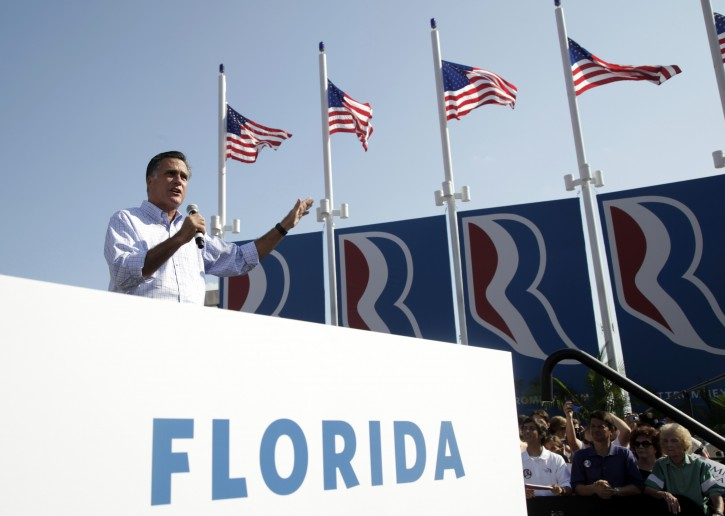 Republican presidential candidate, former Massachusetts Gov. Mitt Romney speaks at a campaign event, Saturday, Sept. 1, 2012, in Jacksonville, Fla.  (AP Photo/Mary Altaffer)