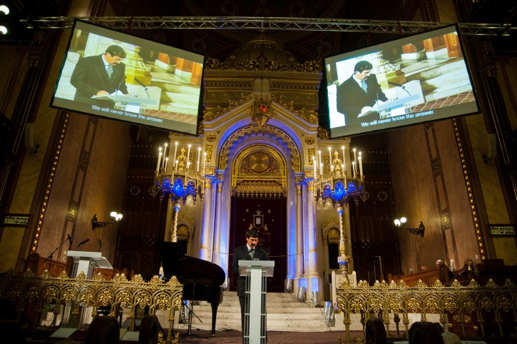 Hungarian President Janos Ader delivers his speech during the commemoration of late Swedish diplomat Raoul Wallenberg on the occasion of the centenary of the birth of Wallenberg in the Dohany Street Synagogue in Budapest, Hungary 09 September 2012. The Memorial Park of the Synagogue was named after Wallenberg, who saved the lives of tens of thousands of Jewish Hungarians in Nazi-occupied Budapest during WWII.  EPA/BEA KALLOS