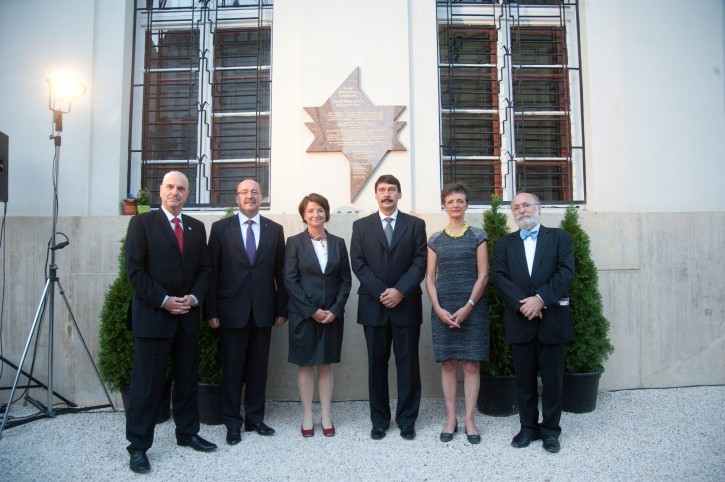 From left, Ambassador of the State of Israel to Hungary Ilan Mor, State Secretary of the Hungarian Foreign Ministry Zsolt Nemeth, Ambassador of Sweden to Hungary Karin Olofsdotter, Hungarian President Janos Ader, Niece of late Swedish diplomat Raoul Wallenberg Louise von Dardel and Chairman of the Federation of Hungarian Jewish Communities Peter Feldmajer attend the official inauguration of the plaque of the Raoul Wallenberg Memorial Park on the occasion of the centenary of the birth of Wallenberg in the garden of the Dohany Street Synagogue in Budapest, Hungary, 09 September 2012. Wallenberg saved the lives of tens of thousands of Jewish Hungarians in Nazi occupied Budapest during WWII.  EPA/BEA KALLOS