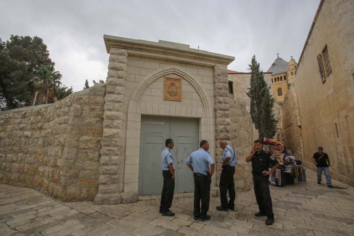 """Police say graffiti spray-painted on Dormition Abbey on Mount Zion, including the words """"price tag"""" and """"Jesus is a bastard."""" Oct 02, 2012. Photo by Oren Nahshon / FLASH90"""