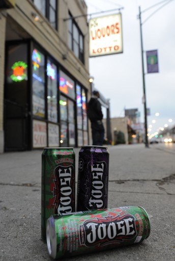 Cans of caffeniated alcoholic beverage Joose sit on the sidewalk outside the small liquor store where it is sold in Chicago, Illinois. EPA/TANNEN MAURY