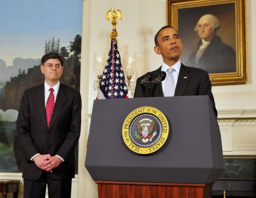 (FILE) A file photograph showing US President Barack Obama (R), announces he has named Jacob J. 'Jack' Lew, left, to serve as Director of the Office of Management and Budget (OMB) in the Diplomatic Reception Room of the White House in Washington, DC, USA, on 13 July 2010.  EPA