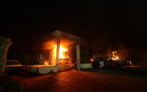 FILE - The U.S. Consulate in Benghazi is seen in flames September 11, 2012.REUTERS/Esam Al-Fetori