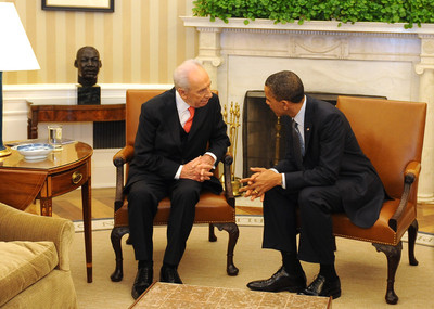 FILE - US President Barack Obama (R) meets with Israeli President Shimon Peres (L) in the Oval Office of the White House in Washington, USA on 05 April 2011.  EPA