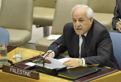 A file photograph showing Palestinian Ambassador to the United Nations Riyad Mansour speaking at a emergency Security Council meeting at the United Nations headquarters in New York, USA, 31 May 2010.  EPA