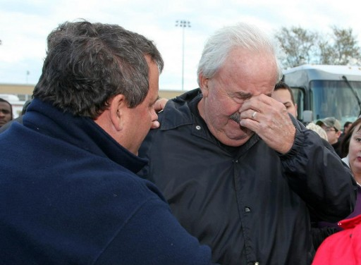 FILE - Governor Chris Christie comforts Lee Tice of Pelican Island after a press conference at the Fema Help Center in Brick, N.J. on Friday, Nov. 2, 2012. (Governor's Office/Tim Larsen)