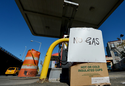 File - A view of a sign at a gasoline station as the city tries to recover from the after effects of Hurricane Sandy in Brooklyn, New York, USA, 04 November 2012.