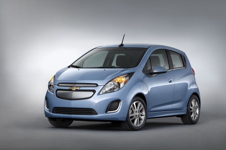 This undated image provided by General Motors shows the 2014 Chevrolet Spark EV,which will be unveiled at the 2012 Los Angles Auto Show during the week of Nov. 26, 2012. The five-door urban mini car is priced at under $25,000 with tax incentives. (AP Photo/General Motors)