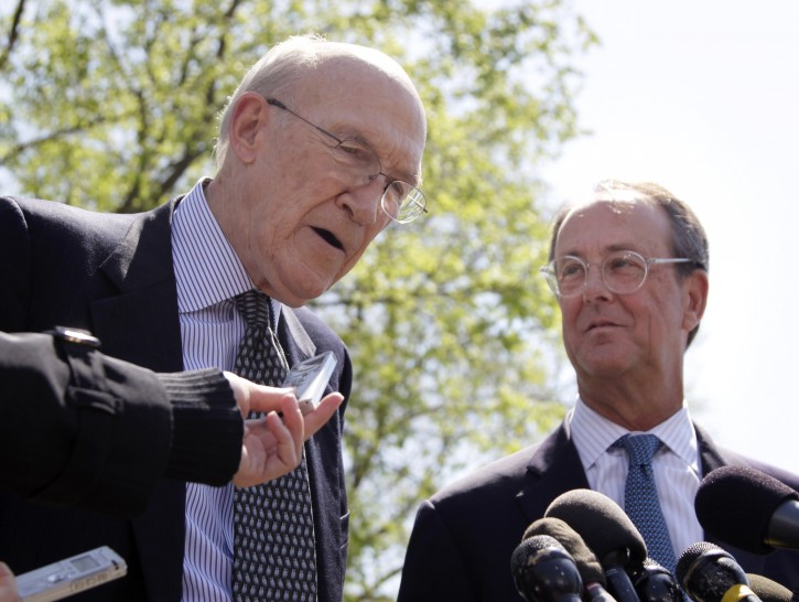 This April 14, 2011 file photo shows Erskine Bowles, right, Alan Simpson, co-chairmen of the president's deficit reduction commission, talking to reporters outside the White House in Washington after their meeting with President Barack Obama. (AP Photo/Carolyn Kaster, File)