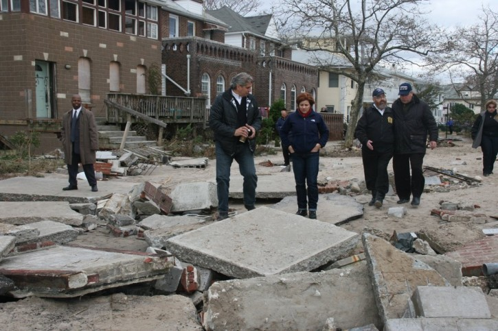 NYC Council speaker Cristine Quinn, Councilman Domonick Reccia, Sea Gate police officer, Sea Gate's Association President Pinny Dembitzer Surveying damage in Sea Gate two days after Sandy. Photo: Shimon Gifter