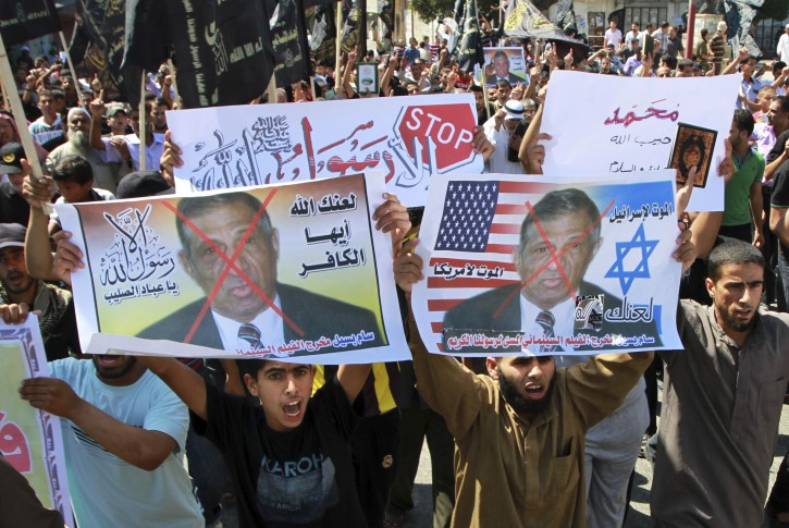 File photo, Palestinian Islamic Jihad protest about a film ridiculing Islam's Prophet Muhammad.(AP Photo/Adel Hana, File)