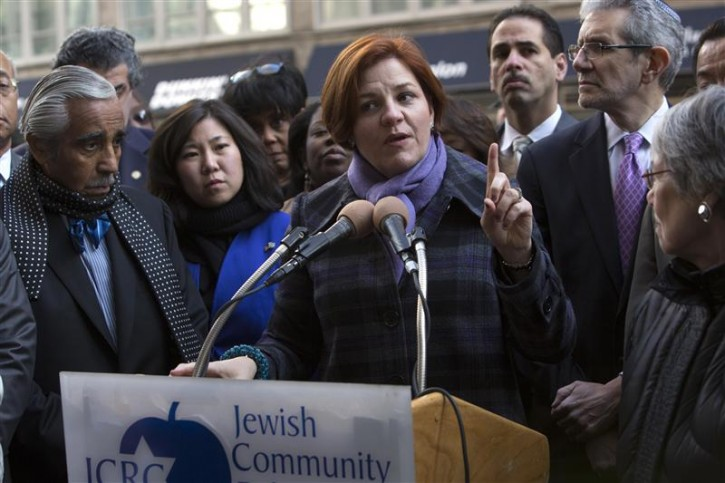 City Council Speaker Christine Quinn speaks at a press conference of city officials in support of Israel outside the Israeli consulate in New York November 20, 2012. Israel is currently engaged in cross border battles with neighboring Palestine. REUTERS/Andrew Kelly