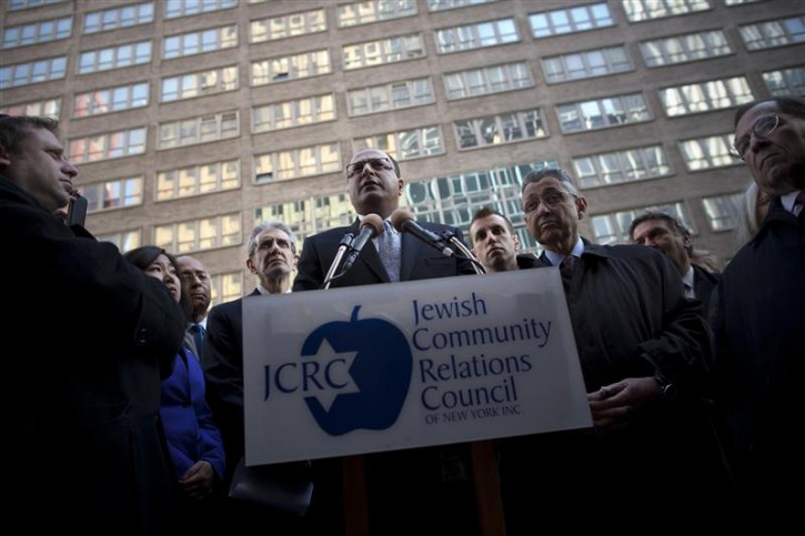 Consul General to Israel Ido Aharoni speaks at a press conference of city officials in support of Israel outside the Israeli consulate in New York November 20, 2012. Israel is currently engaged in cross border battles with neighboring Palestine. REUTERS/Andrew Kelly