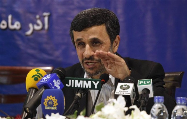"Iran's President Mahmoud Ahmadinejad speaks during a media conference at Iran's embassy after he attended the Developing-8 summit in Islamabad November 22, 2012.  Israel has a ""childish"" desire to attack Iran and Tehran is capable of defending itself, IAhmedinejad said on Thursday.REUTERS/Mian Khursheed"