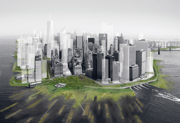 This artist's rendering provided by DLANDSTUDIO and Architecture Research Office shows a proposed perimeter wetlands and an archipelago of man-made barrier islets on New York's Manhattan island, designed to absorb the brunt of a huge storm surge. (AP Photo/DLANDSTUDIO and Architecture Research Office)