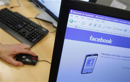 A Facebook page is displayed on a computer screen.<br /> Credit: Reuters/Thierry Roge