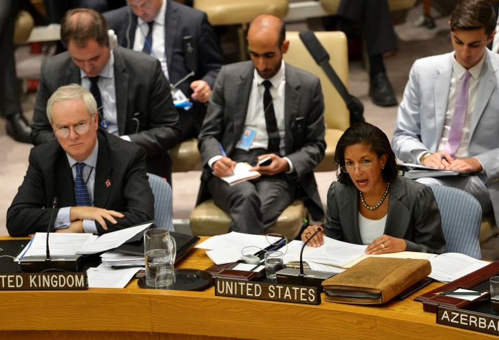 Susan Rice (R), United States' Ambassador to the United Nations, speaks as Mark Lyall Grant (L), the United Kingdom's Ambassador to the United Nations, listens during a United Nations Security Council meeting on the ongoing violence in Syria at the United Nations headquarters in New York City, New York, USA, 19 July 2012. EPA/JUSTIN LANE