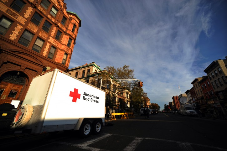 A Red Cross trailer is parked in downtown Hoboken, New Jersey, USA, 01 November 2012. Superstorm Sandy has paralyzed much of the US East Coast, causing billions of US dollars in damages and killing at least 70 people.  EPA/PETER FOLEY