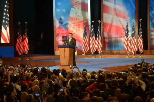 Republican presidential candidate Mitt Romney, on stage during the Romney Election Night event at the Boston Convention and Exhibition Center for the 2012 US presidential election in Boston, Massachusetts, USA, 06 November 2012.  EPA