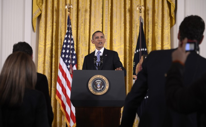 US President Barack Obama responds to a question from the news media during a press conference in the East Room of the White House in Washington, DC, USA 14 November 2012. President Obama focused his comments on averting the fiscal cliff and urging congress to come to a bipartisan consensus.  EPA/SHAWN THEW