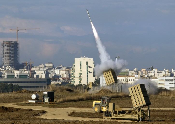 An Israeli 'Iron Dome' fires a missile against a Grad missile fired from the Gaza Strip