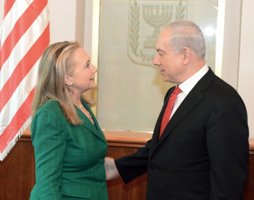 FILE - A handout photo provided by the U.S. Embassy in Tel Aviv, Israel, on 21 November 2012 shows U.S. Secretary of State Hillary Rodham Clinton (L) meeting with Israeli Prime Minister Benjamin Netanyahu (R) in Jerusalem, 21 November 2012, after her talks with Palestinian Authority officials in Rammallah.  EPA