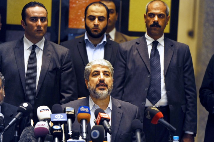 Khaled Mashaal, the head of the Political Bureau of Hamas, speaks during  his   press conference  in Cairo, Egypt, 21 November 2012. A ceasefire agreement has been reached between Israel and Hamas after eight days of fighting.  EPA/STR