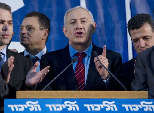Israeli Prime Minister Benjamin Netanyahu addresses Likud party faithful in Tel Aviv, Israel, early 27 November 2012. EPA