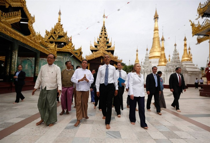 President Barack Obama and Secretary of State Hillary Clinton tour the Shwedagon Pagoda in Yangon, Nov. 19. (Jason Reed / Reuters)