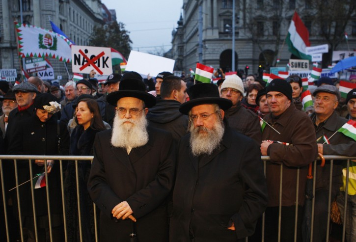 File photo of Orthodox Jews attend a demonstration against Nazism in front of the Parliament building in Budapest December 2, 2012. REUTERS/Bernadett Szabo