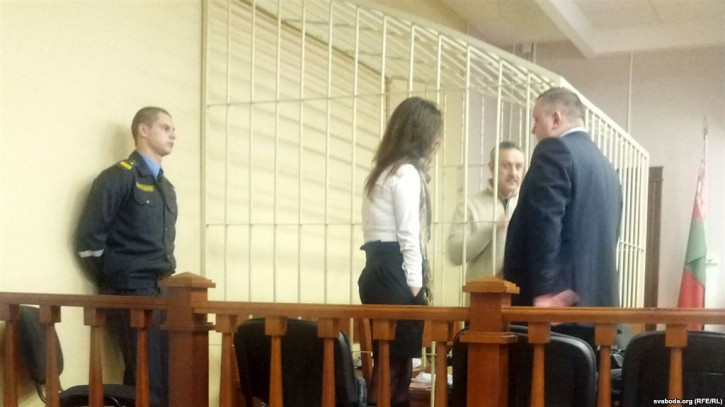 Yuri Dorn in a court cage as his trial gets under way in Minsk. Photo Credit: Svaboda.org ( RFE/RL)