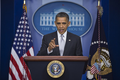 FILE -  US President Barack Obama speaks to the media about his administration's policy efforts to curb gun violence in the wake of the mass shooting in Newtown, Connecticut, in the Brady Press Briefing Room at the White House in Washington, DC, USA, 19 December 2012