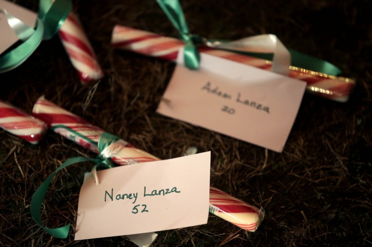 The names of Nancy Lanza and Adam Lanza are attached to candy at a memorial to the Newtown shooting victims in Newtown, Conn., Thursday, Dec. 20, 2012. (AP Photo/Seth Wenig)