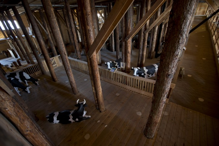 Interior view of the full scale replica of Noah's Ark with life-size replica's of animals.(AP Photo/Peter Dejong)