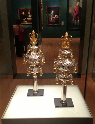 FILE - A set of 18th century Torah finial bells are seen on display at the Museum of Fine Arts, in Boston. (AP Photo/David Bazarsky)