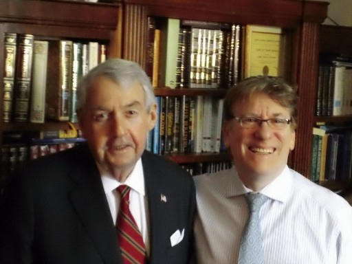 Talk-radio host Zev Brenner poses with Brooklyn DA Charles Hynes after an Interview Dec. 4 2012