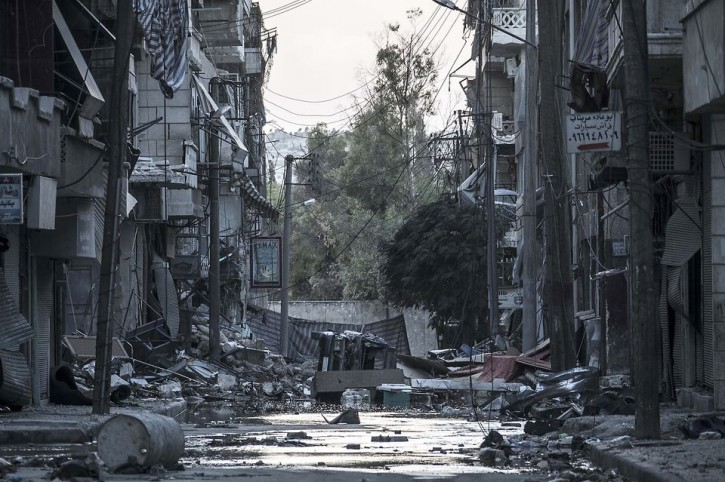 <br /> A destroyed street in Aleppo, Syria. Narciso Contreras/Associated Press