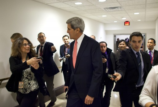 Democratic Senator from Massachusetts John Kerry (C) is trailed by reporters as he enters a closed Senate Foreign Relations Committee hearing on the terrorist attack in Benghazi, Libya in the US Capitol in Washington, DC USA, 13 November 2012.  EPA