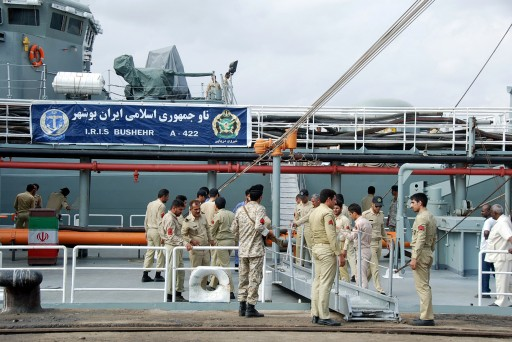 File photo of Iranian navy personnel stand on the I.R.I.S Bushehr. EPA/STR