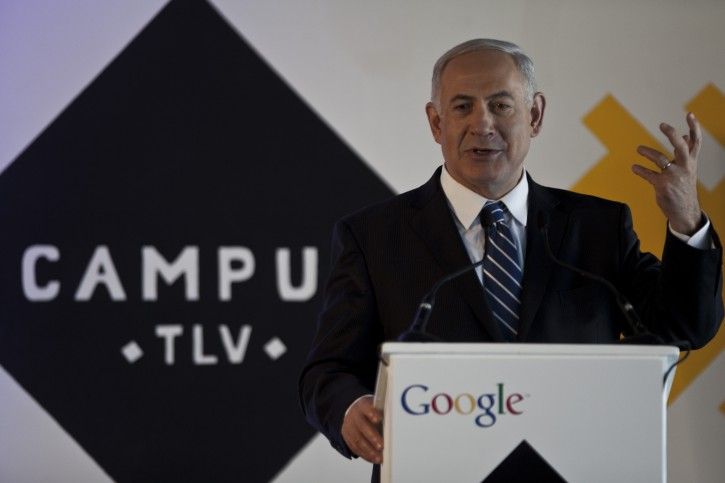 Israeli Prime Minister Benjamin Netanyahu delivers a speech during the inauguration of the 'Campus TLV' in Tel Aviv, Israel, 10 December 2012. The project is meant to be a hub for technology entrepreneurs sponsored by Google.  EPA/OLIVER WEIKEN