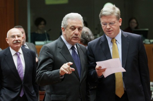 Greek Foreign Minister Dimitrios Avramopoulos (front L) and European Commissioner for Enlargement and European Neighbourhood Policy, Czech Stefan Fule (R) during a foreign affairs council  at the EU headquarters in Brussels, Belgium, 10 December 2012.  EPA