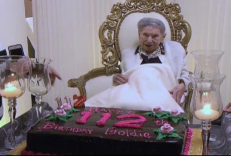 Goldie Steinberg celebrating her 112 birthday, Goldie has been verified to be the worlds oldest Jewish woman